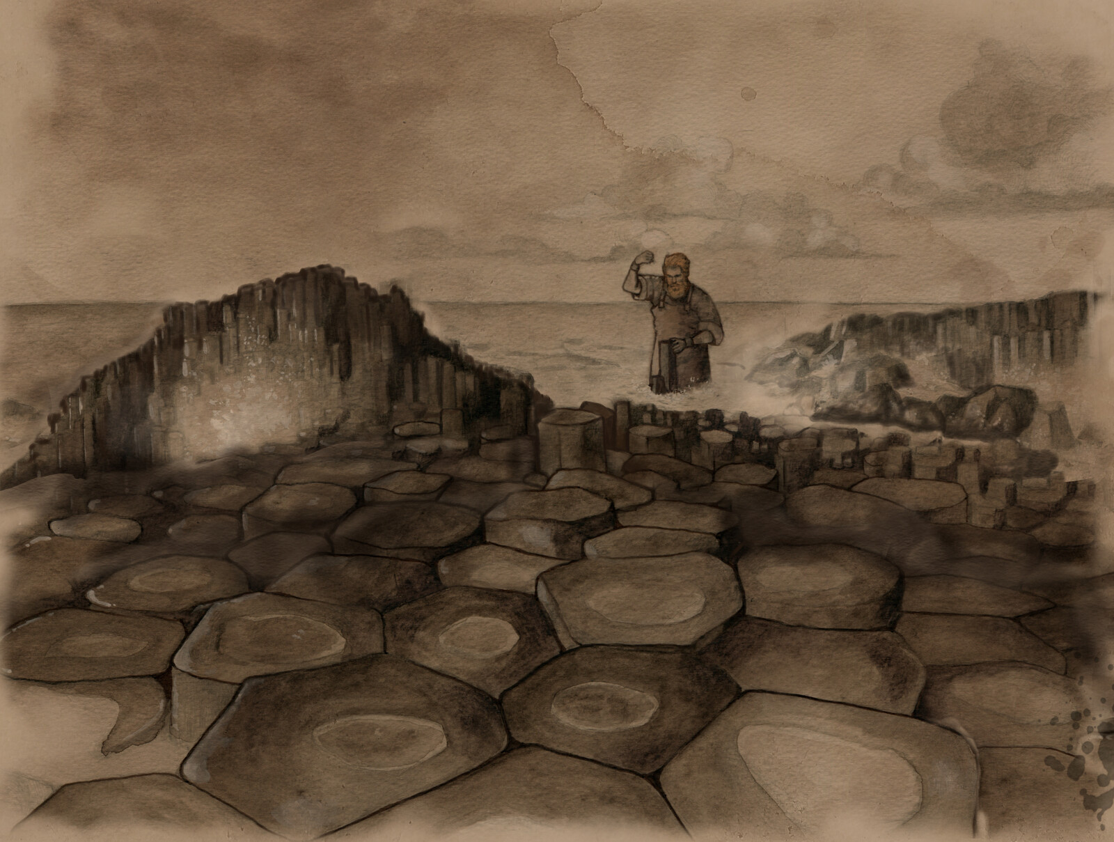 Snippet of the finished scene of Fionn building the causeway