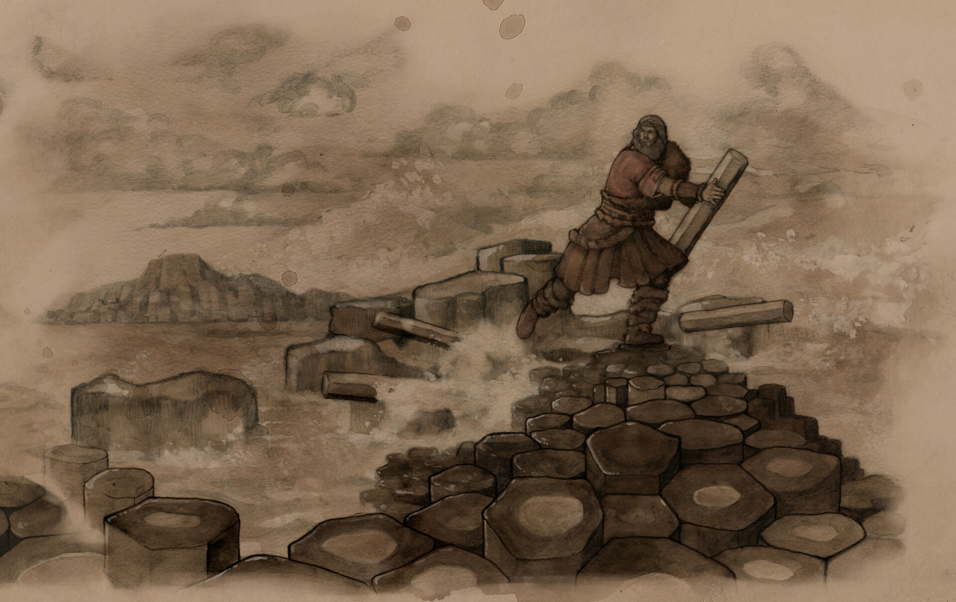 Snippet of the finished scene of Benanndonner destroying the causeway