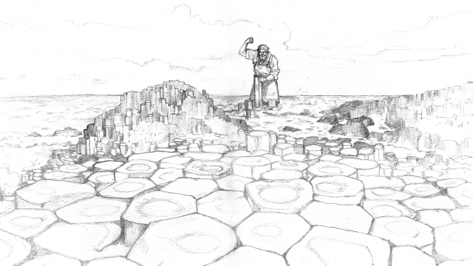 WIP sketch of Fionn building the causeway