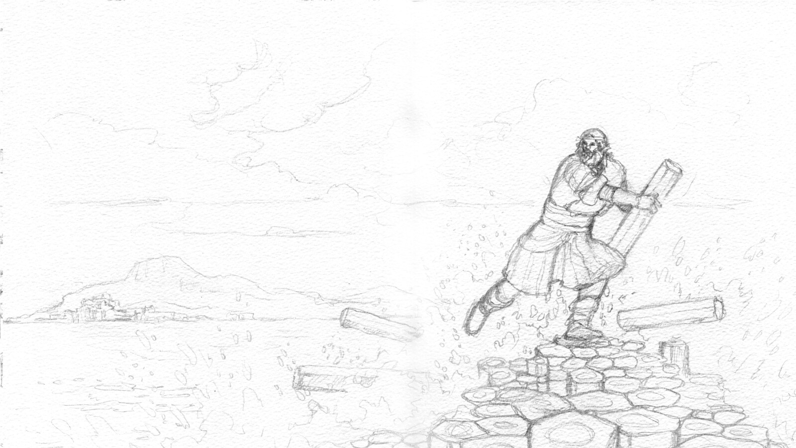 WIP sketch of Benanndonner destroying the causeway