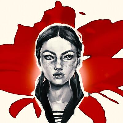 Lesta danica girl on the red flower