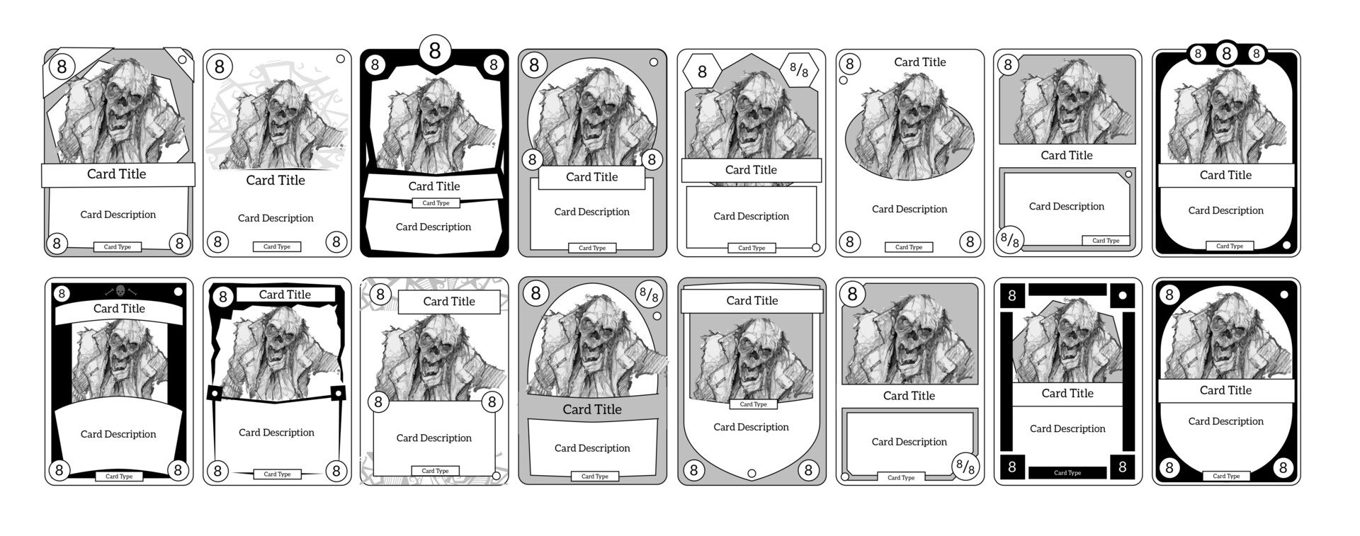 The more successful wireframes were picked out and I started doing some rough concepts for how the card image and text could be framed.  I kept this stage as quick shapes to allow fast iteration and discussions with the team.