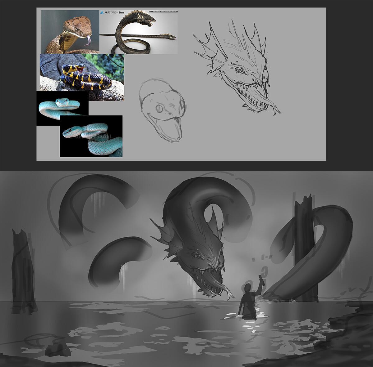 Snake study and final thumbnail