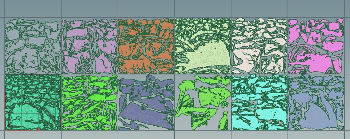 Procedural UV layout with  a limit of 6 tile in U.