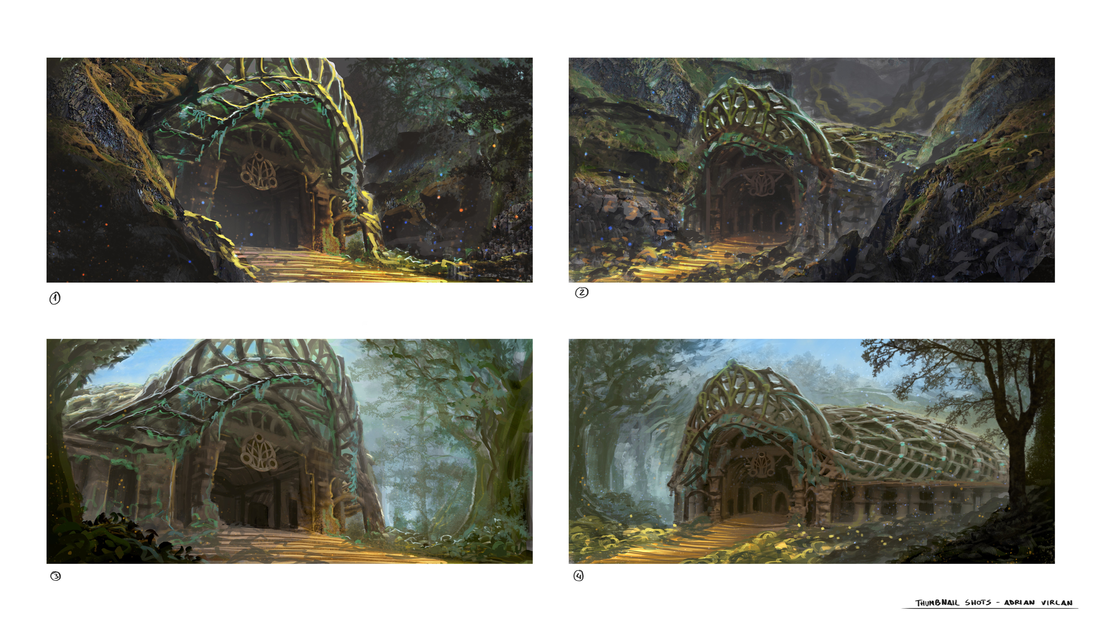 Mood explorations. Deciding the environment the temple would sit in
