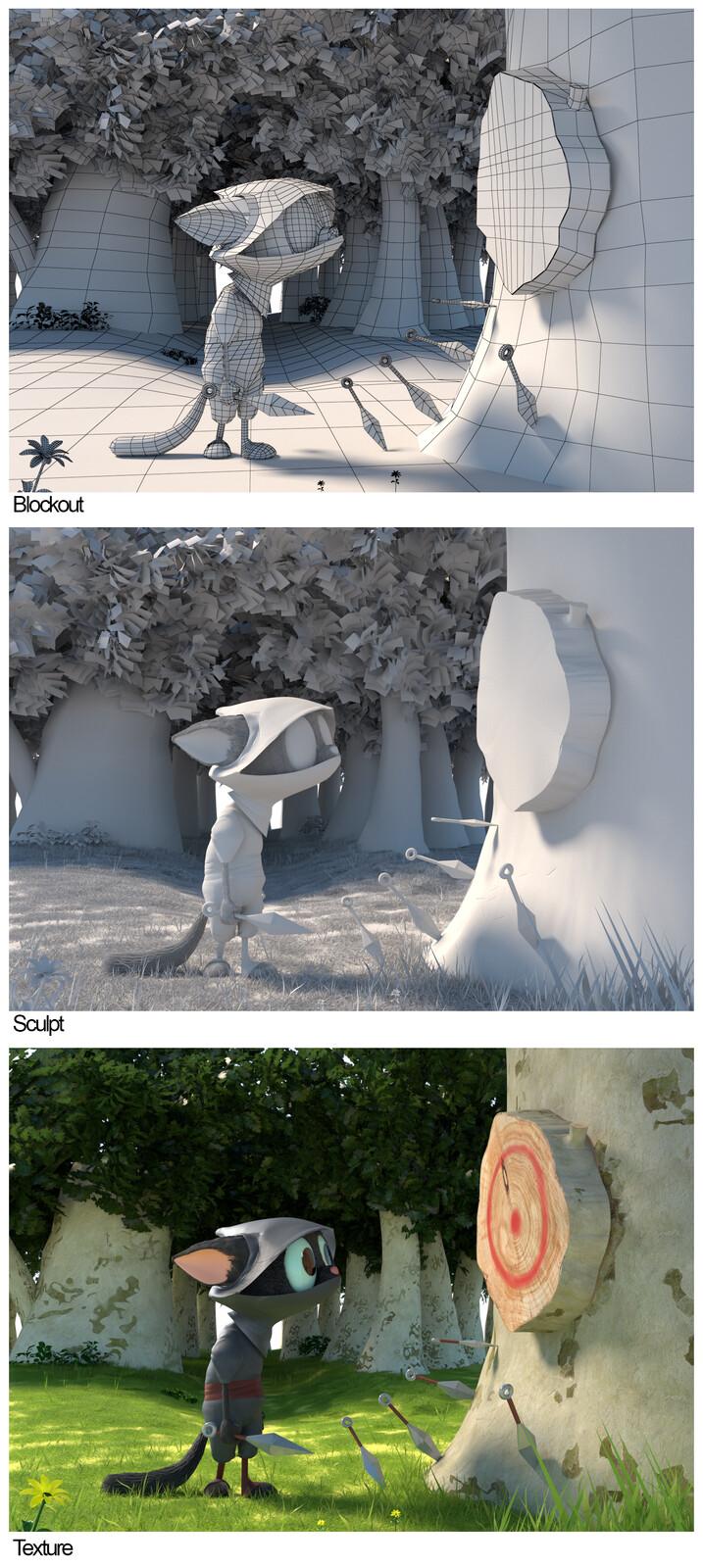 Blockout vs Sculpt vs Texture
