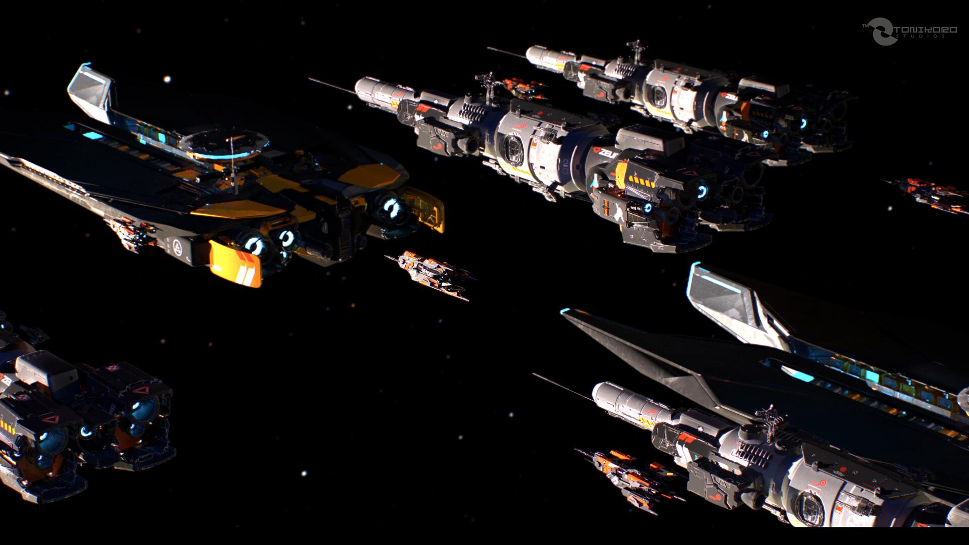 Titan Corps Patrol ships returning to Ganymede City.. *Marmoset Toolbag 3