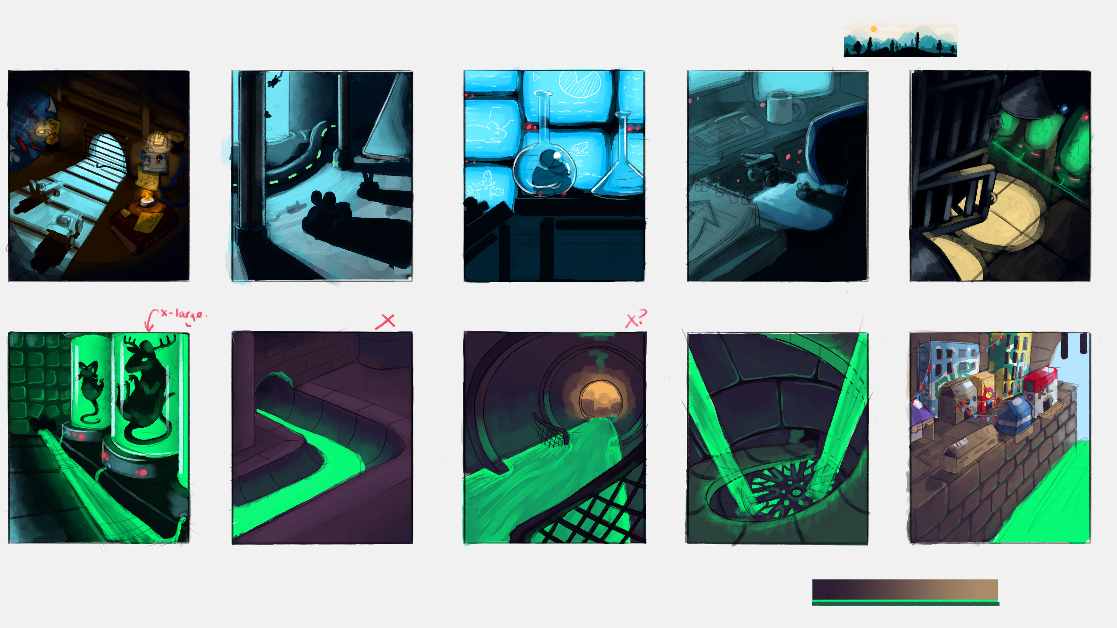 Mini-storyboard, trying to capture the overall feel and colour journey throughout the race track.