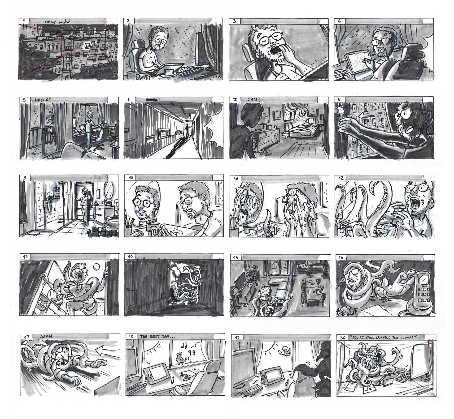 The initial 20 frame storyboard of the story