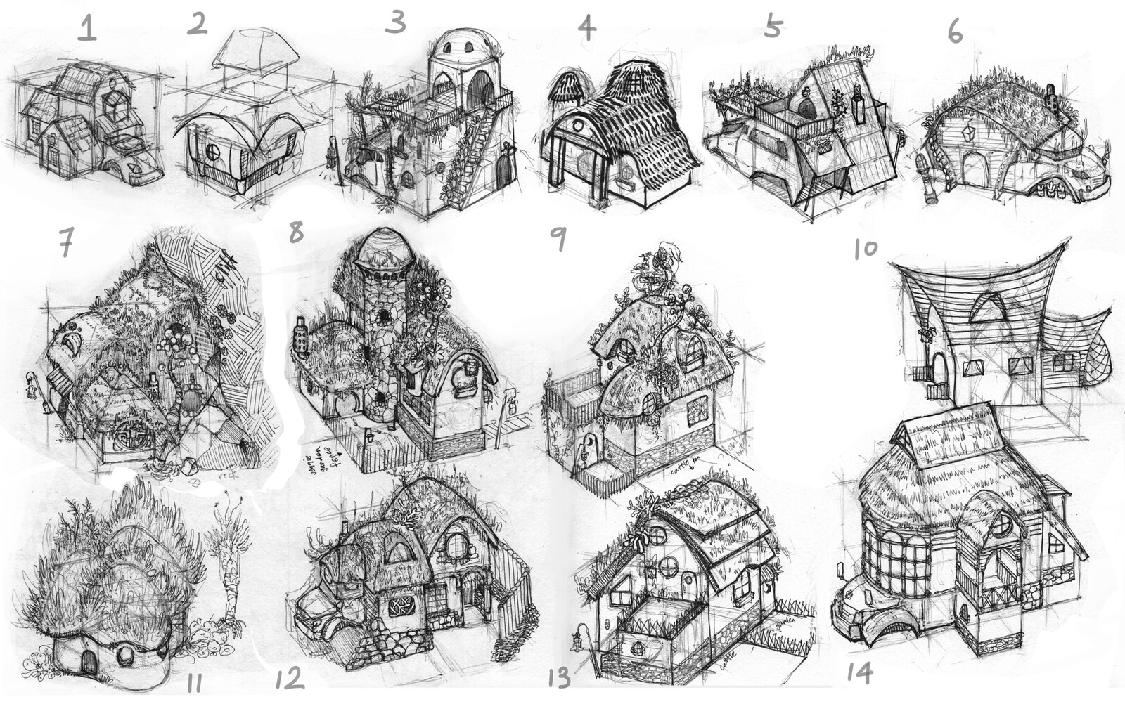 Kelp Forest Hut Sketches