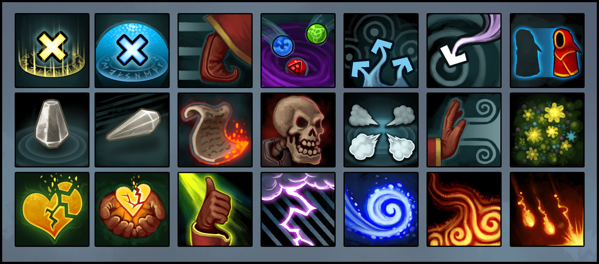 Skill icons for all spells the wizards could use