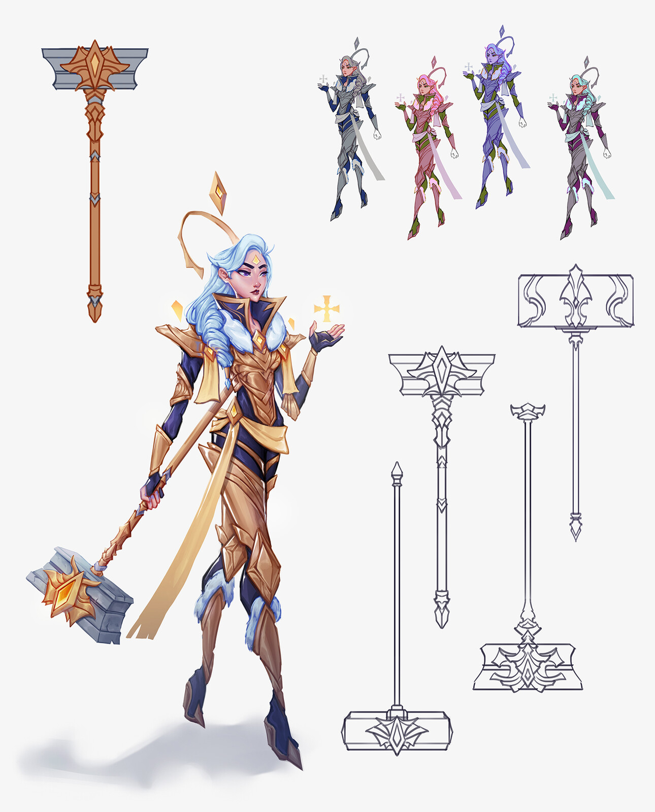 Some color variations, hammer designs, and a flat color version of the final hammer design