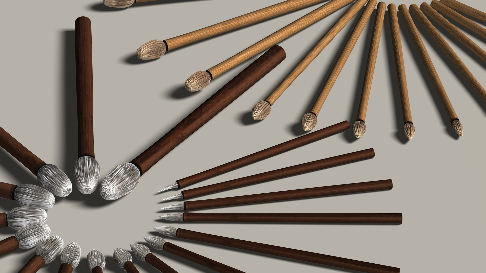 This image shows the brushes, in each of 17 sizes, in a pair of different textures.