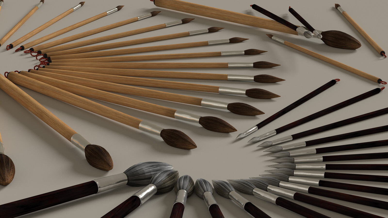 3D Model: Small-Tipped Brushes