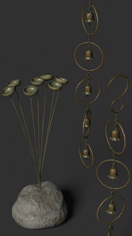 This image shows a set of preliminary textures for the rain chain and chimes.  They need more work (or rework), but show the basic color scheme.