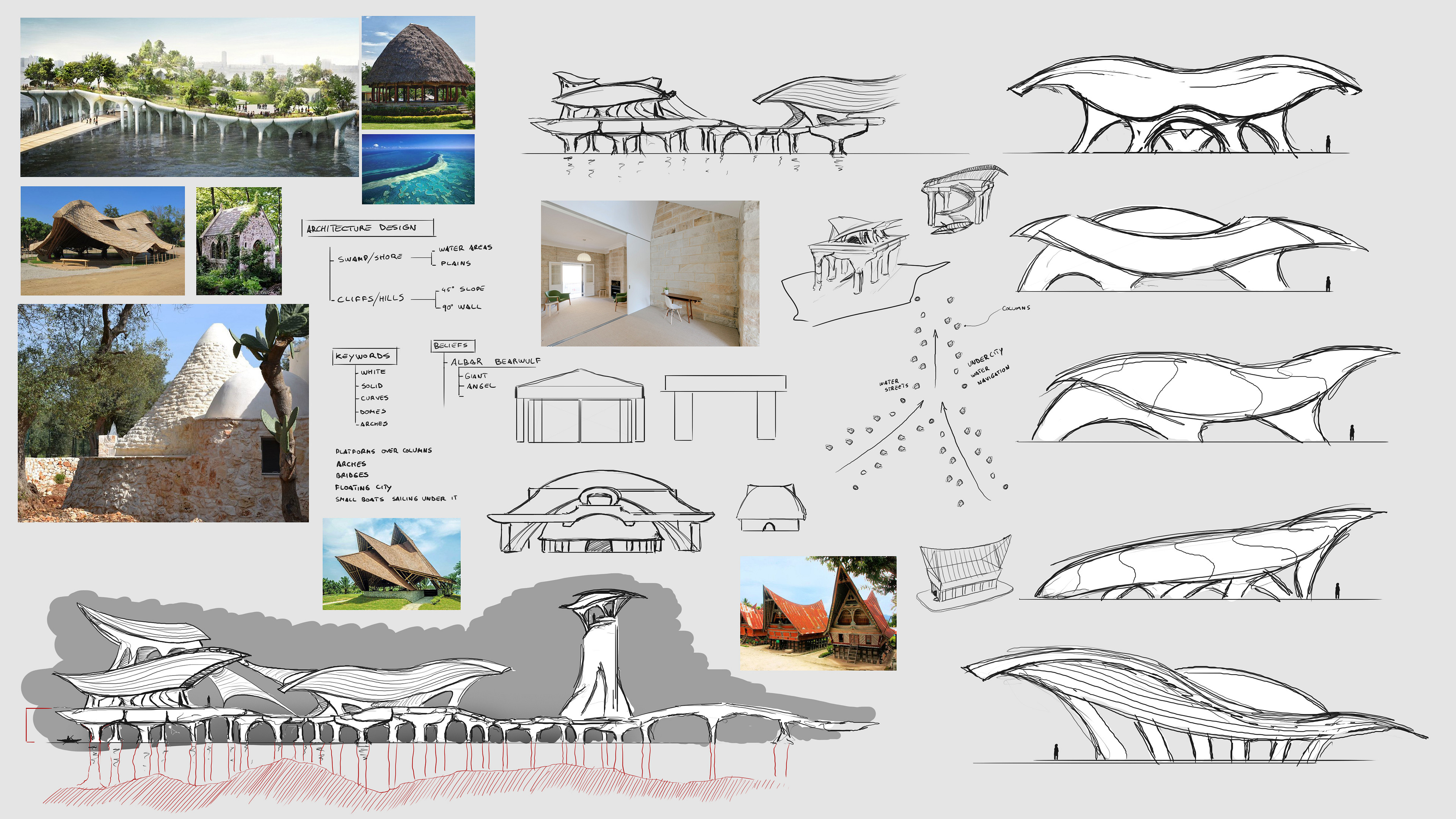 Very early development stage, exploring the possible shapes and style of this culture's buildings.