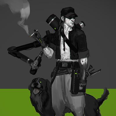 Fred augis cyberpunk a chien