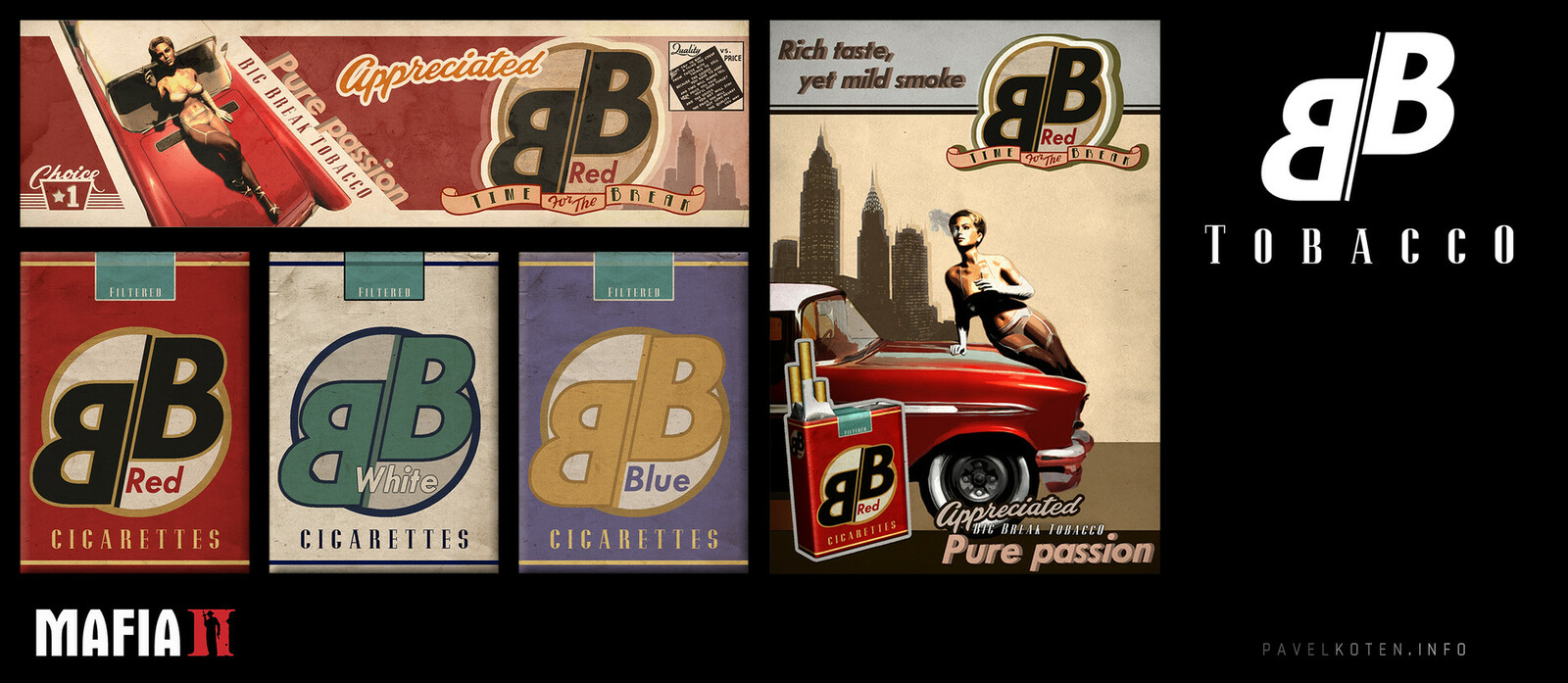 Branding design for in-game cigarettes used throughout the game.