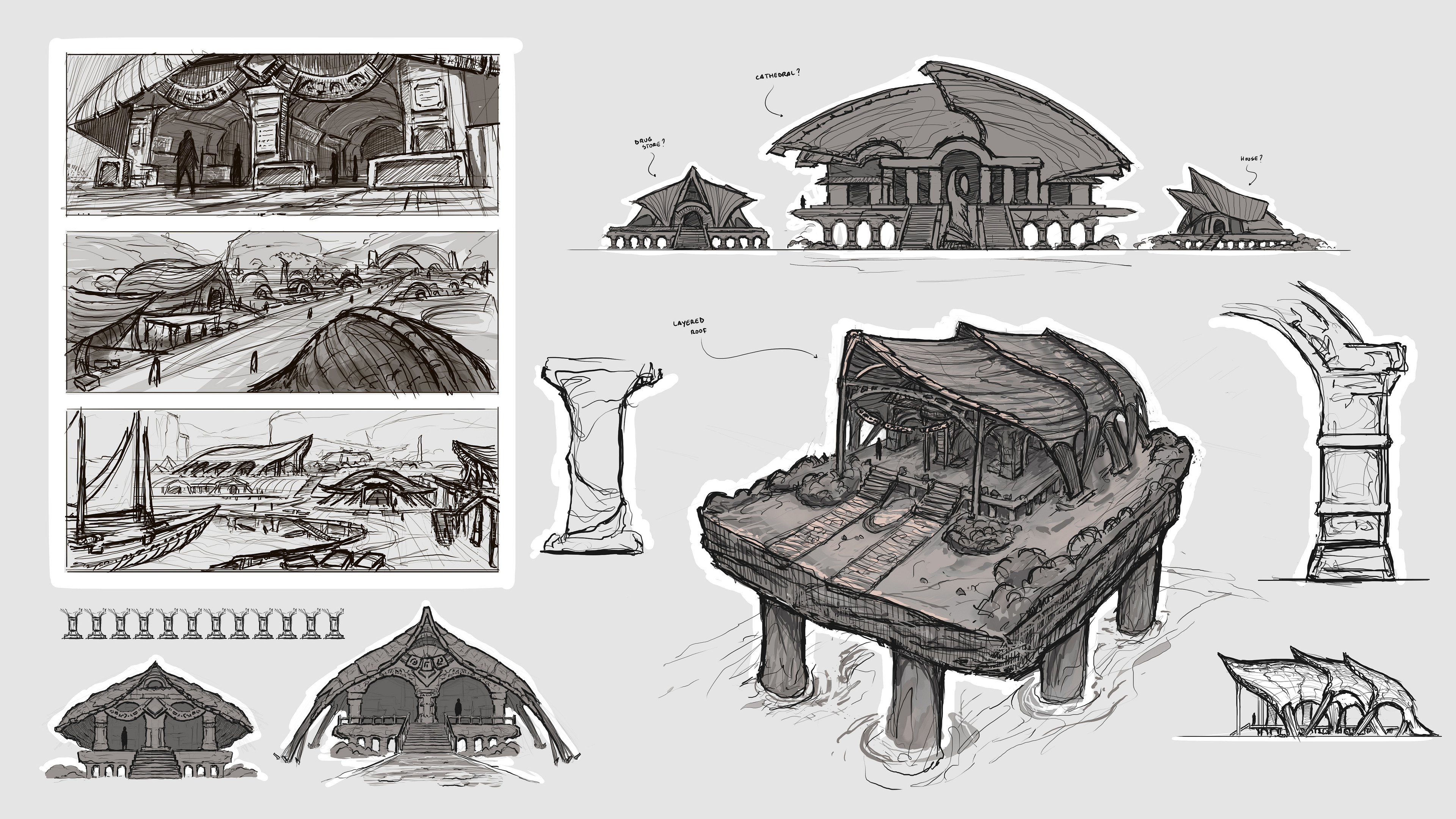 Early sketches and thumbnail shots