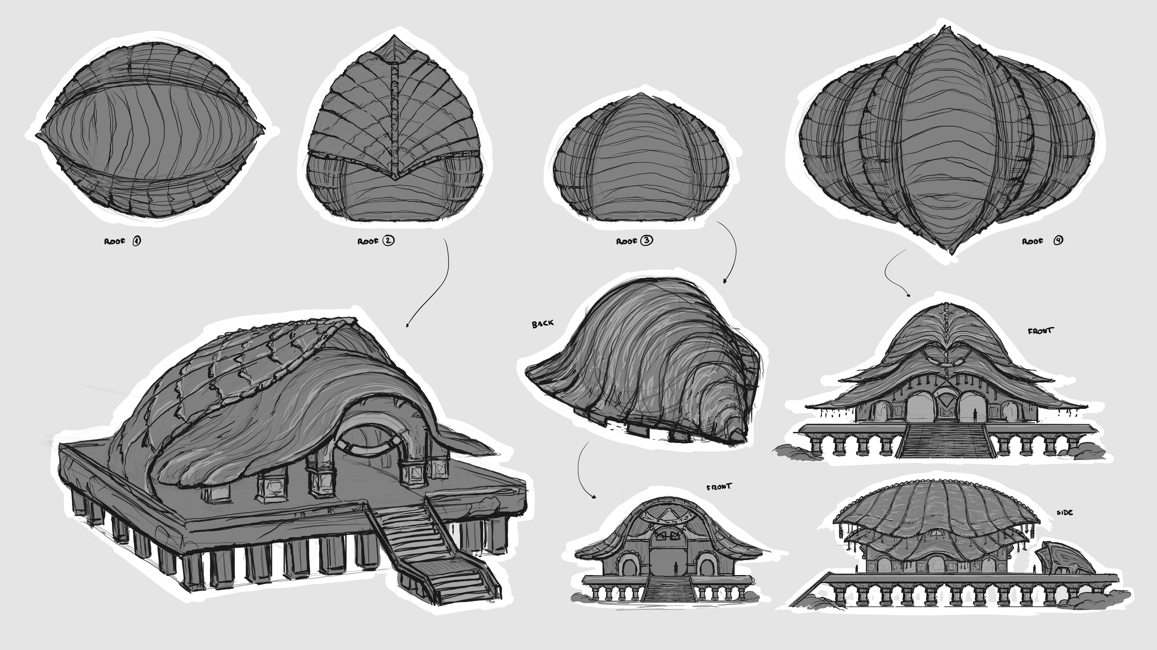 Roof design exploration sketches