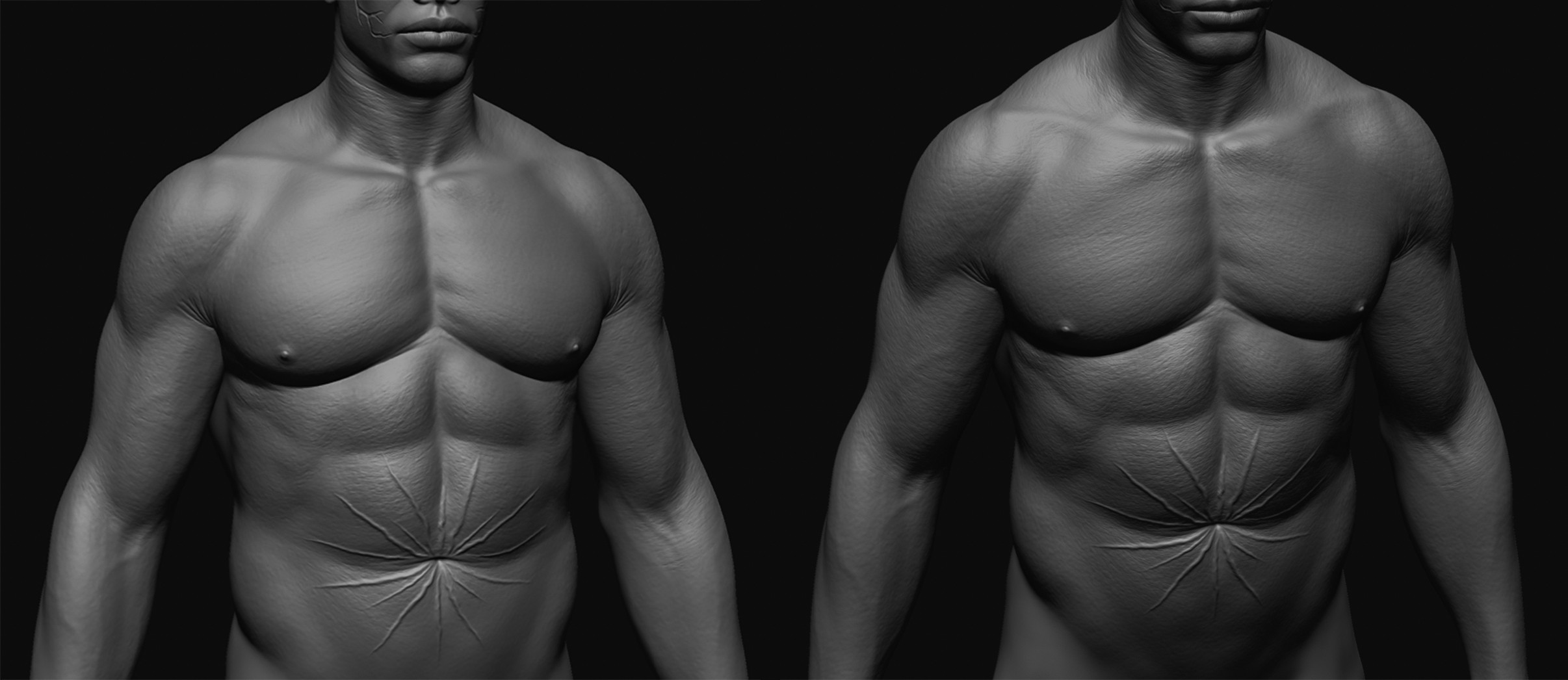 Initial torso sculpt before adding fat and researching scarification types/methods