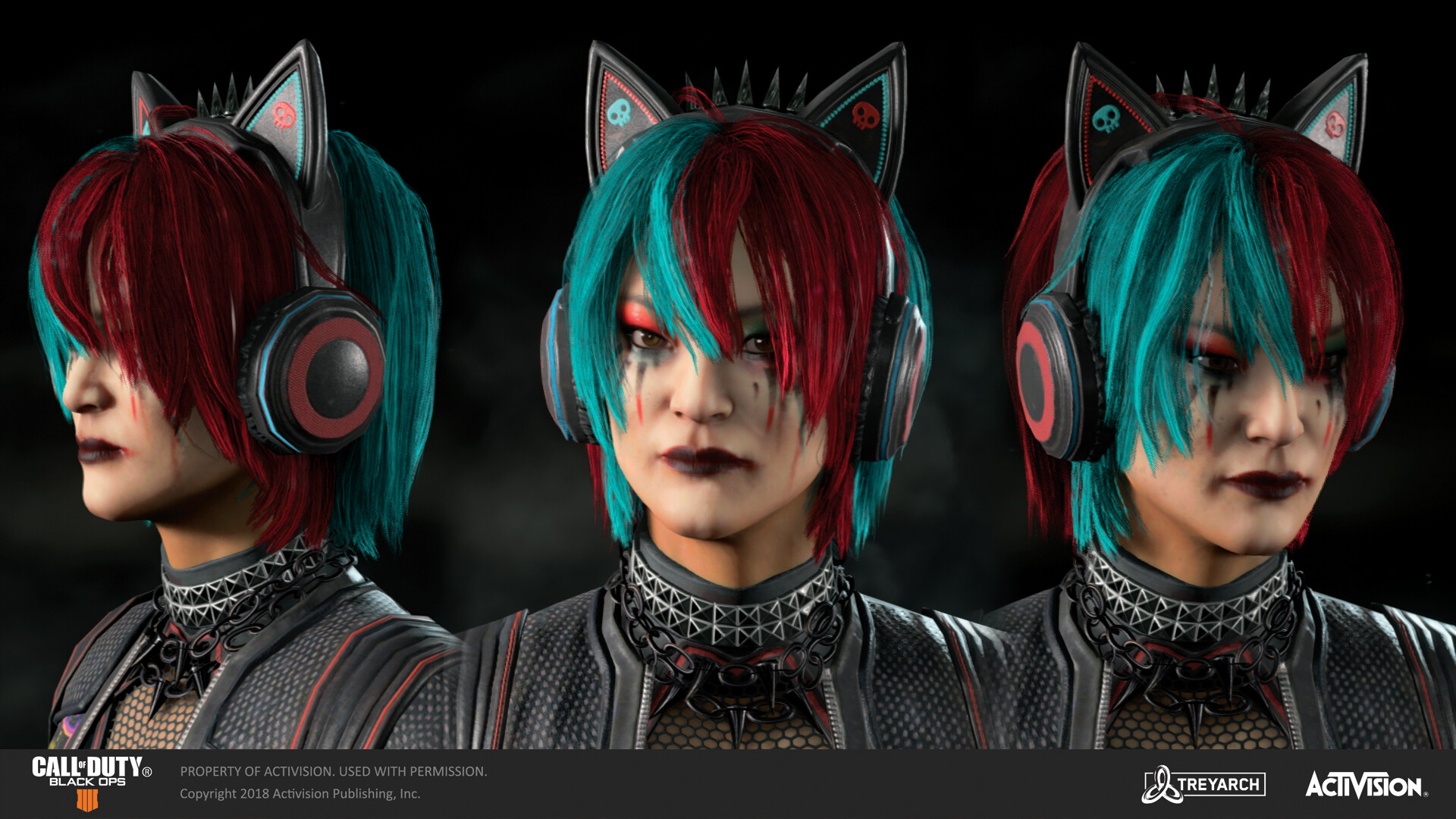 Textured Seraph's warpaint for her 'Kitty Six' skin in the 'Dark Divide' DLC. Body model made by our external partners at RedHotCG, cyberarm modeled by Yaw Chang,  hair by Jason Anh, and the head was sculpted by Anh Nguyen. Costume designed by Yangtian Li