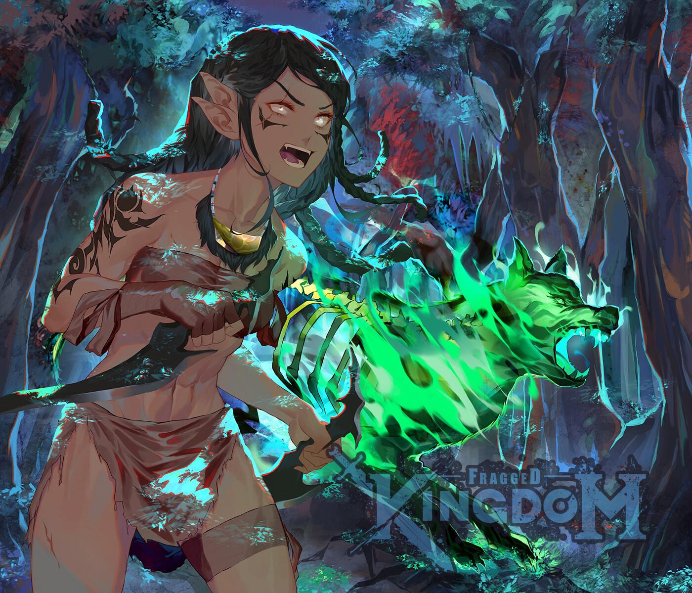 shaman and spirit wolf