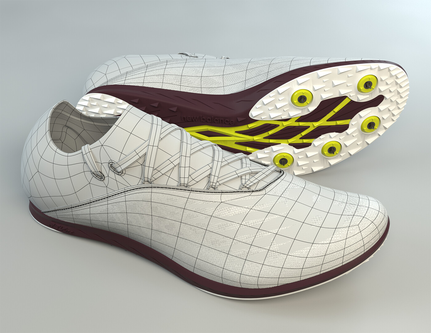 New Balance XC5Kv5 Shoe with wireframe on shaded.  The tooling/sole is from a CAD file.