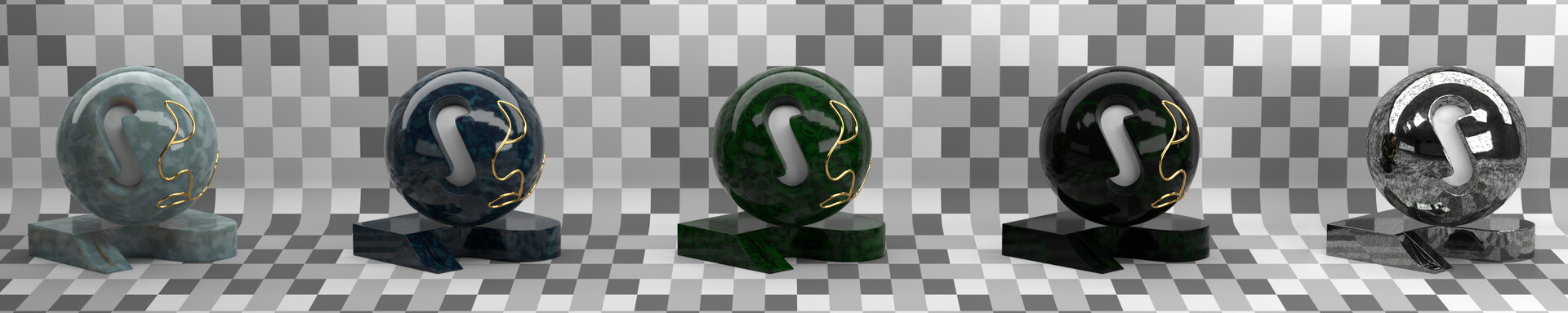 Material studies: 4 jade variations (procedural, inside Blender) and steel (from texture).
