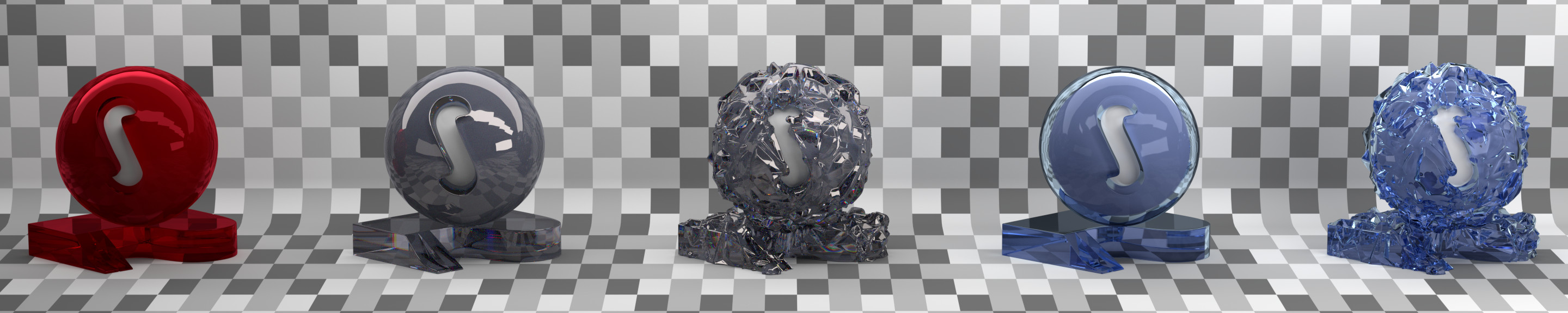 Material studies: red gem, clear crystal with and without displacement, blue crystal with and without displacement.