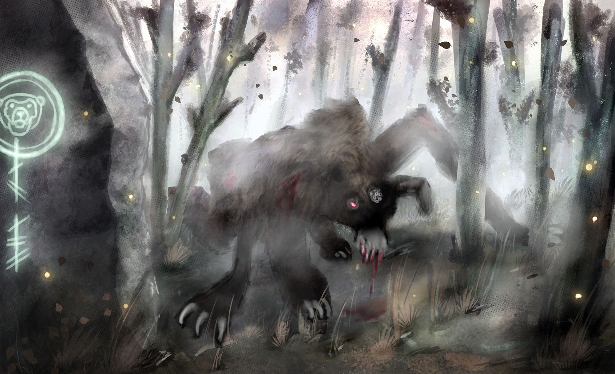 Mood illustration for an unpublished project. A bear monster in the misty woods of a Celtic island.