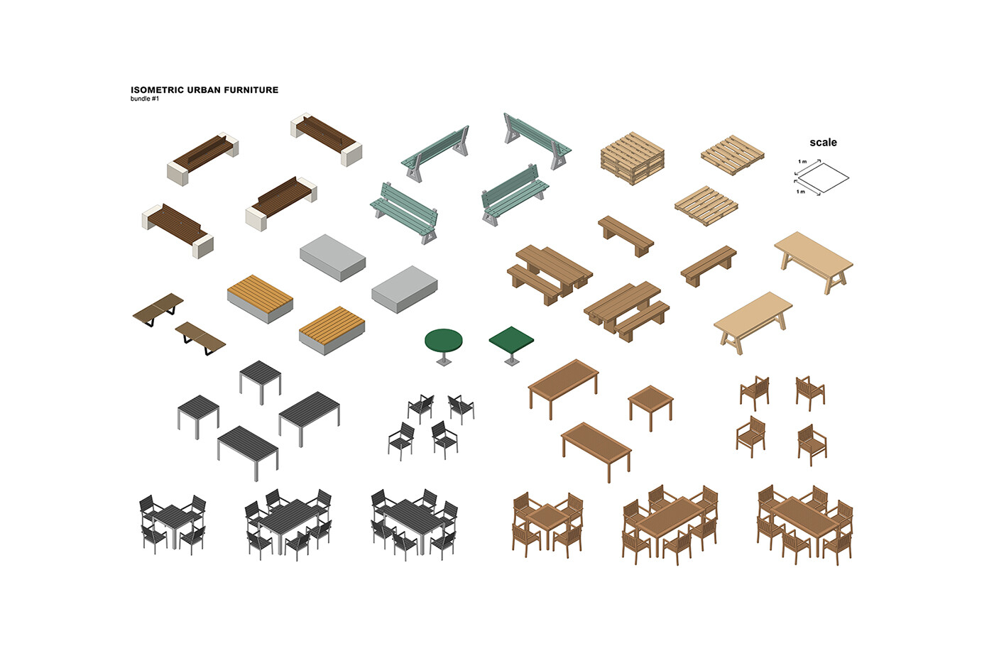 ISOMETRIC URBAN FURNITURE  BUNDLE #1