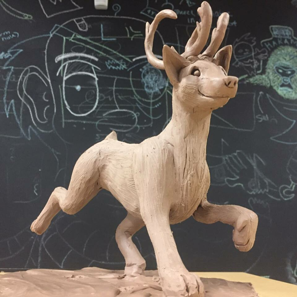 Caribou-Fox Clay Sculpture