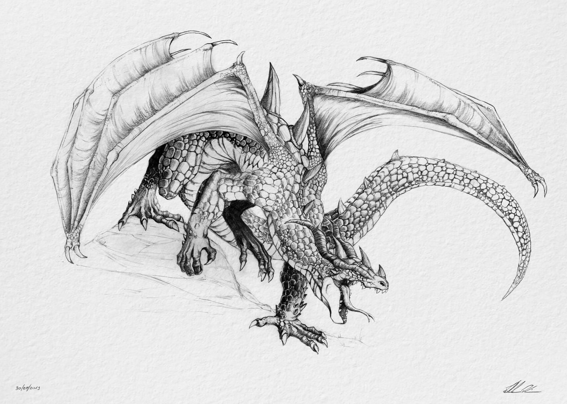 The Ancient Dragon gaits with rage in his eyse and fire inside his thoroat.