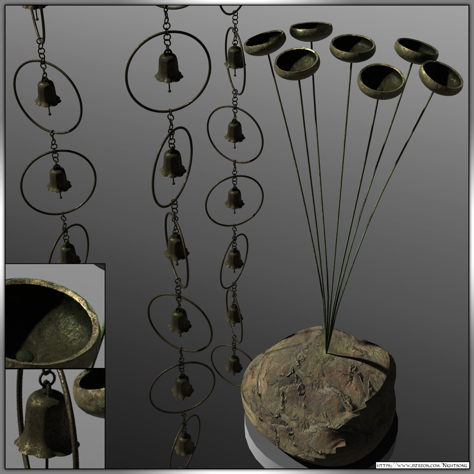 3D Rain Chain and Chimes: Patreon 3D Model Archive