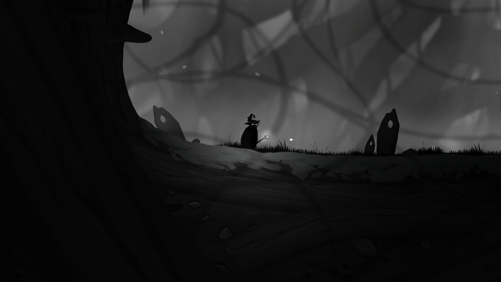Screenshot of the game from underground of the forest level