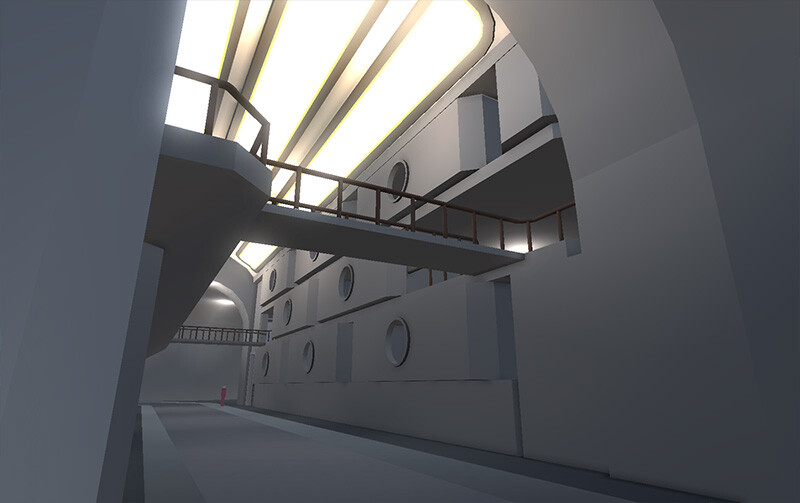 A rough blockout of an arm of the planetary human base. The housing system stacks into modular apartment complexes.