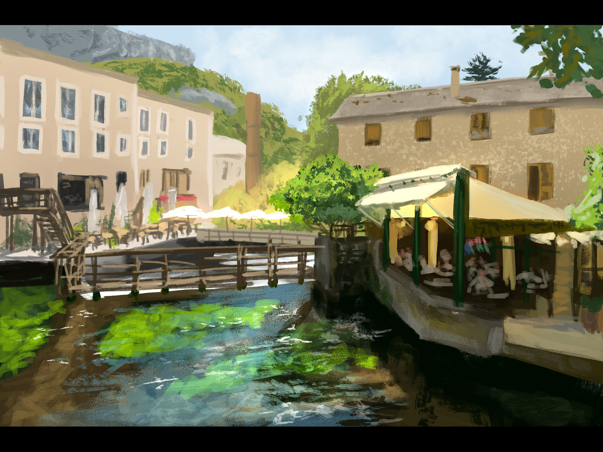 Photo Study: Riverside Cafe (90-120 min)