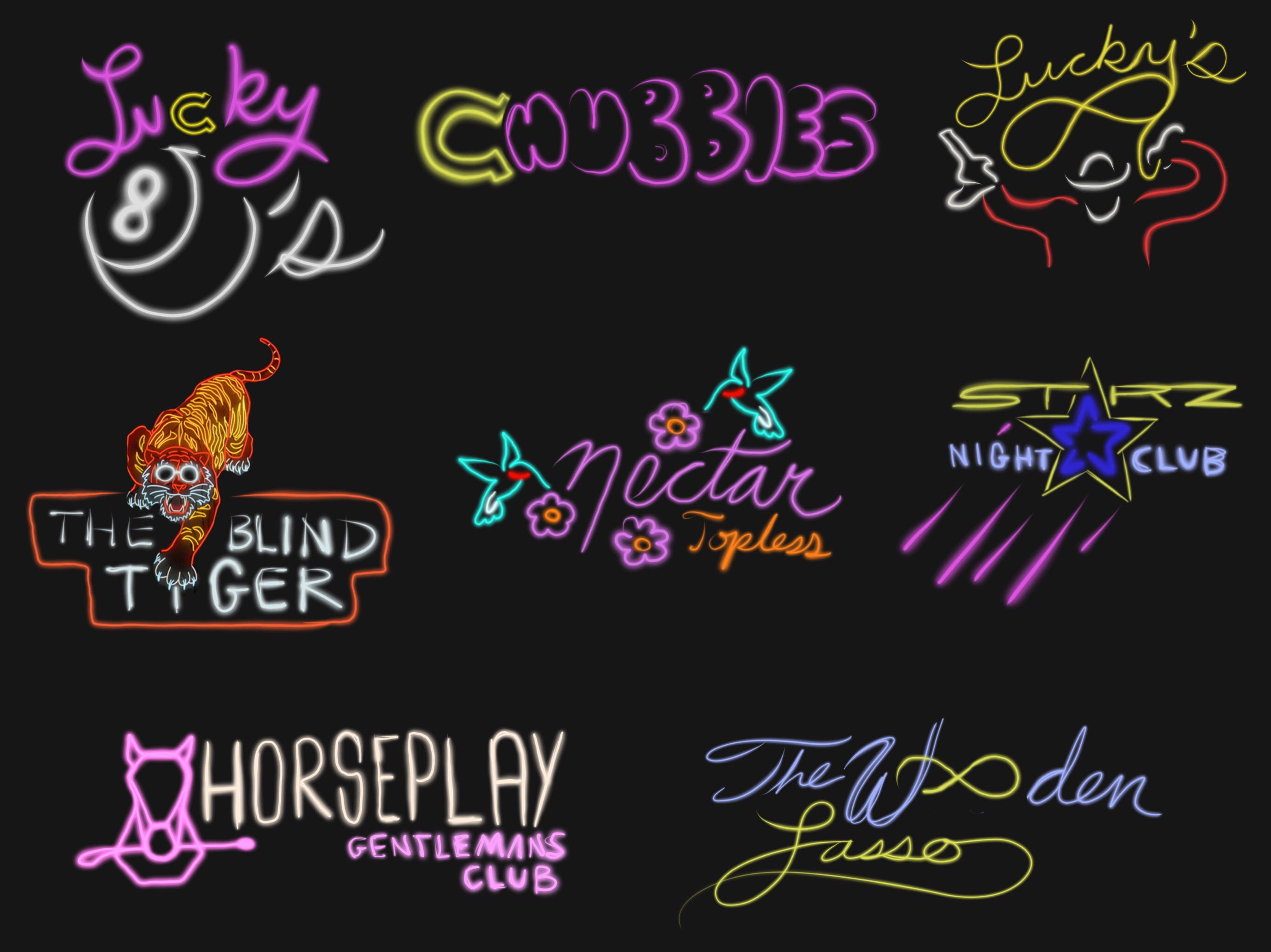 Neon sign iterations for Cowboy