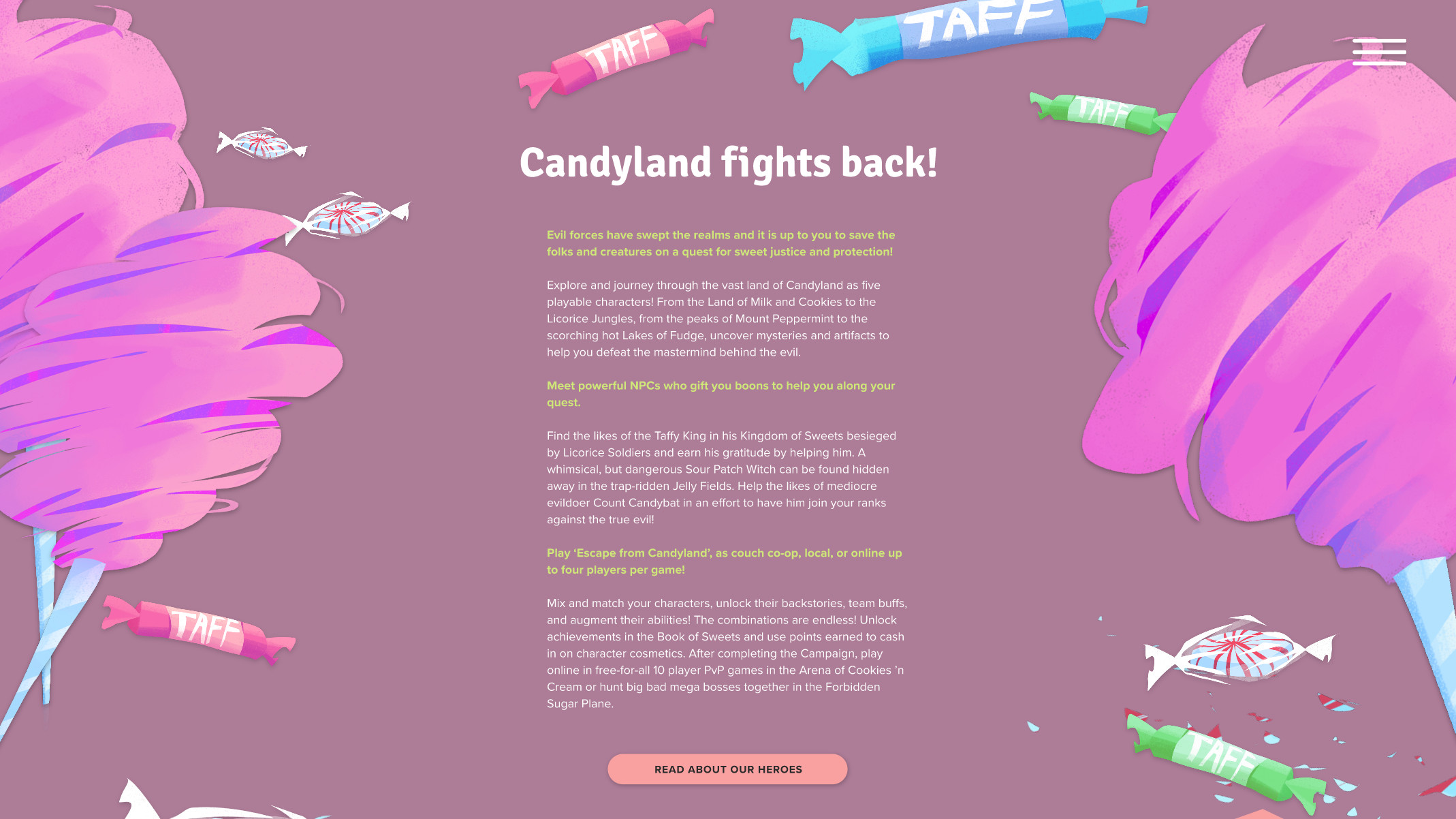 Intro page with candy assets