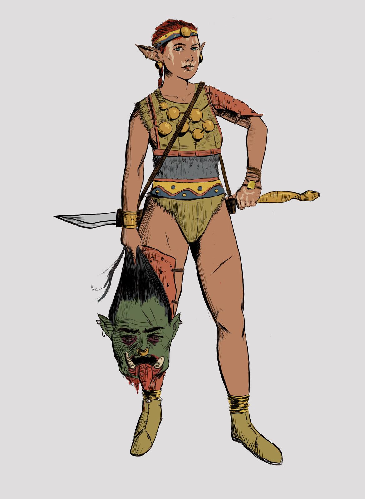 Elf Warrior Iana - Character Design Challenge