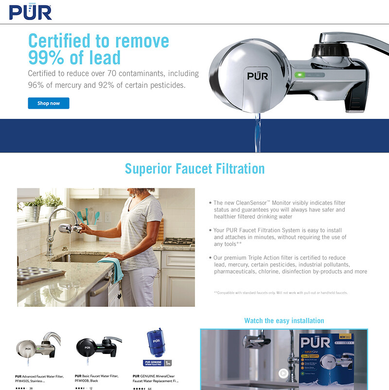 PUR Water Filters Educational Brand Page