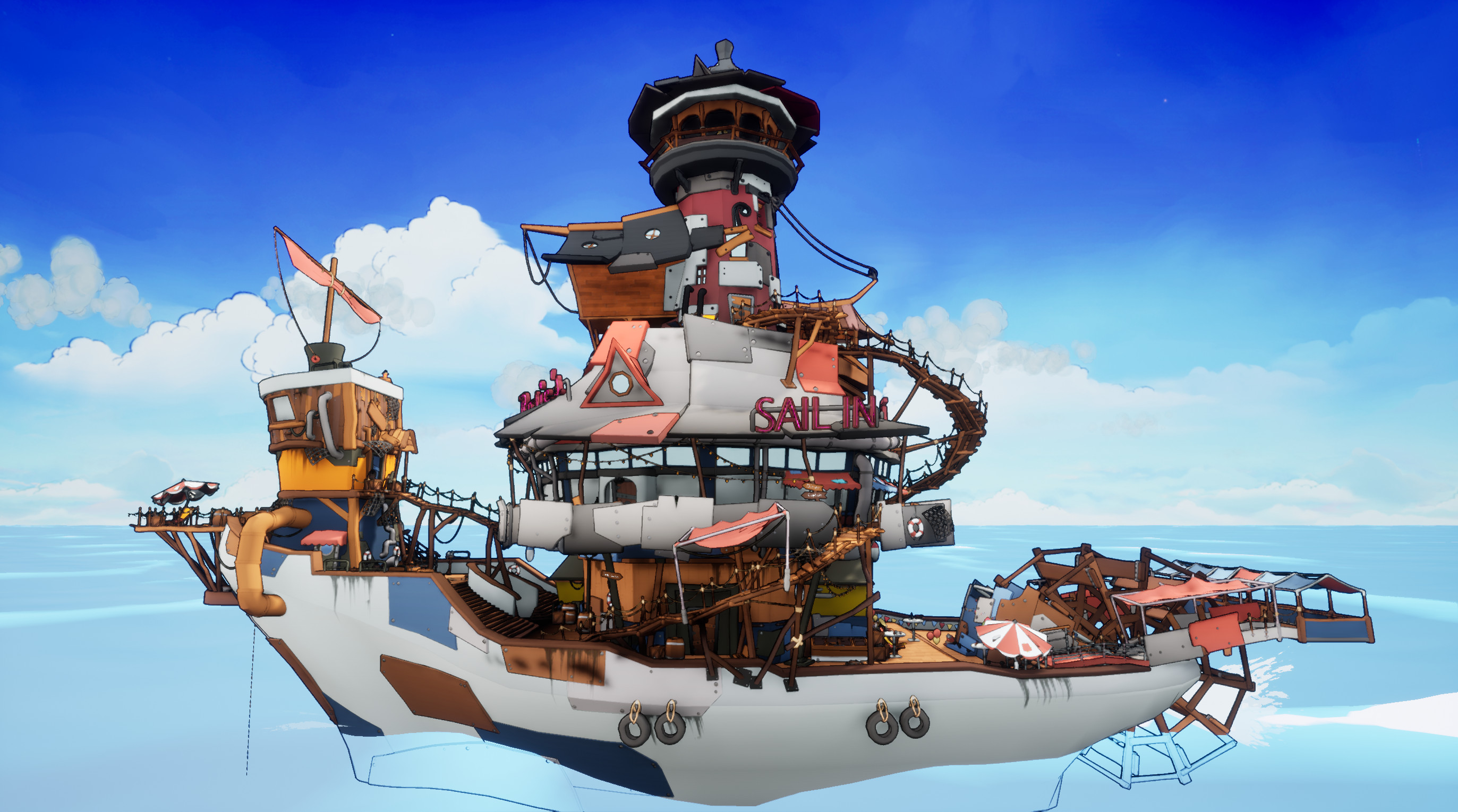 The overall ship that was made during the project, I was partly responsible for the overall modeling.