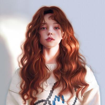 Danvici art portrait red hair