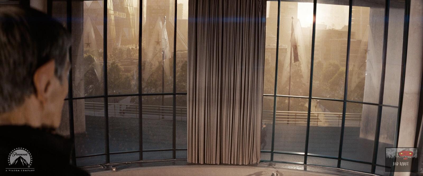 Exterior environment 2.5D Digital Matte Painting, with windows reconstruction and Starfleet window glass emboss.