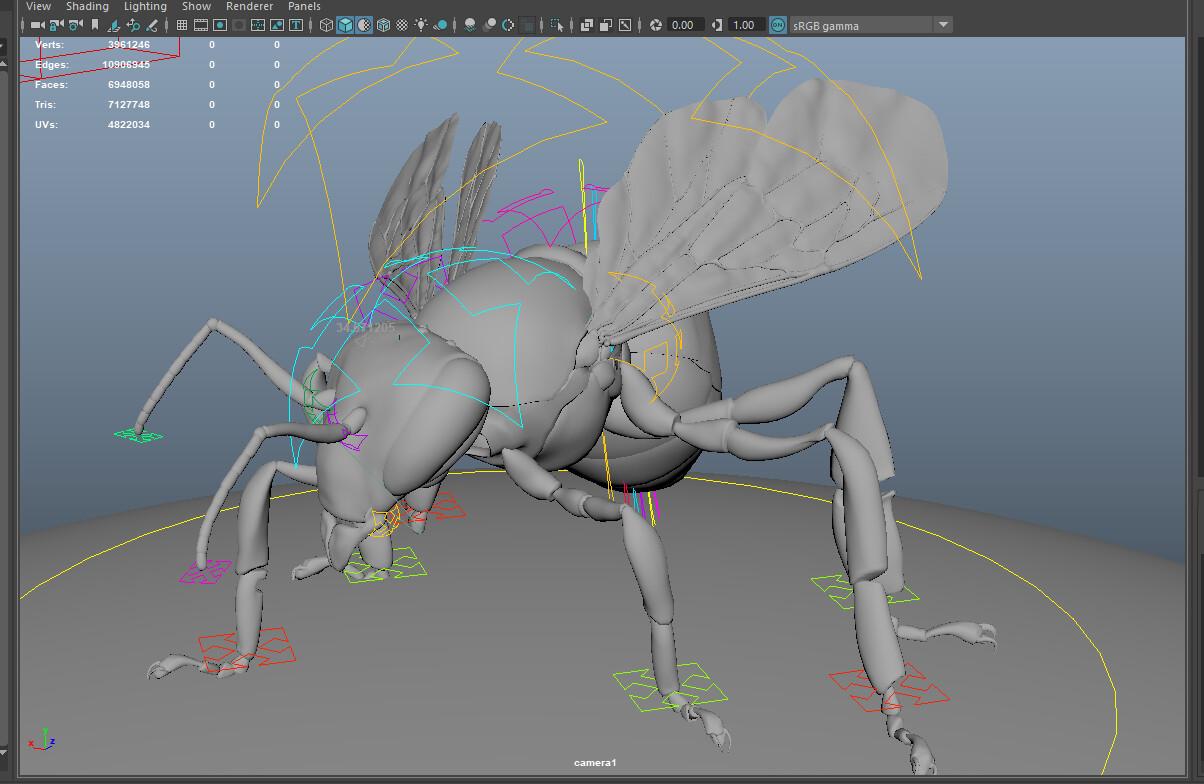 Maya screengrab of the bee model, no fur