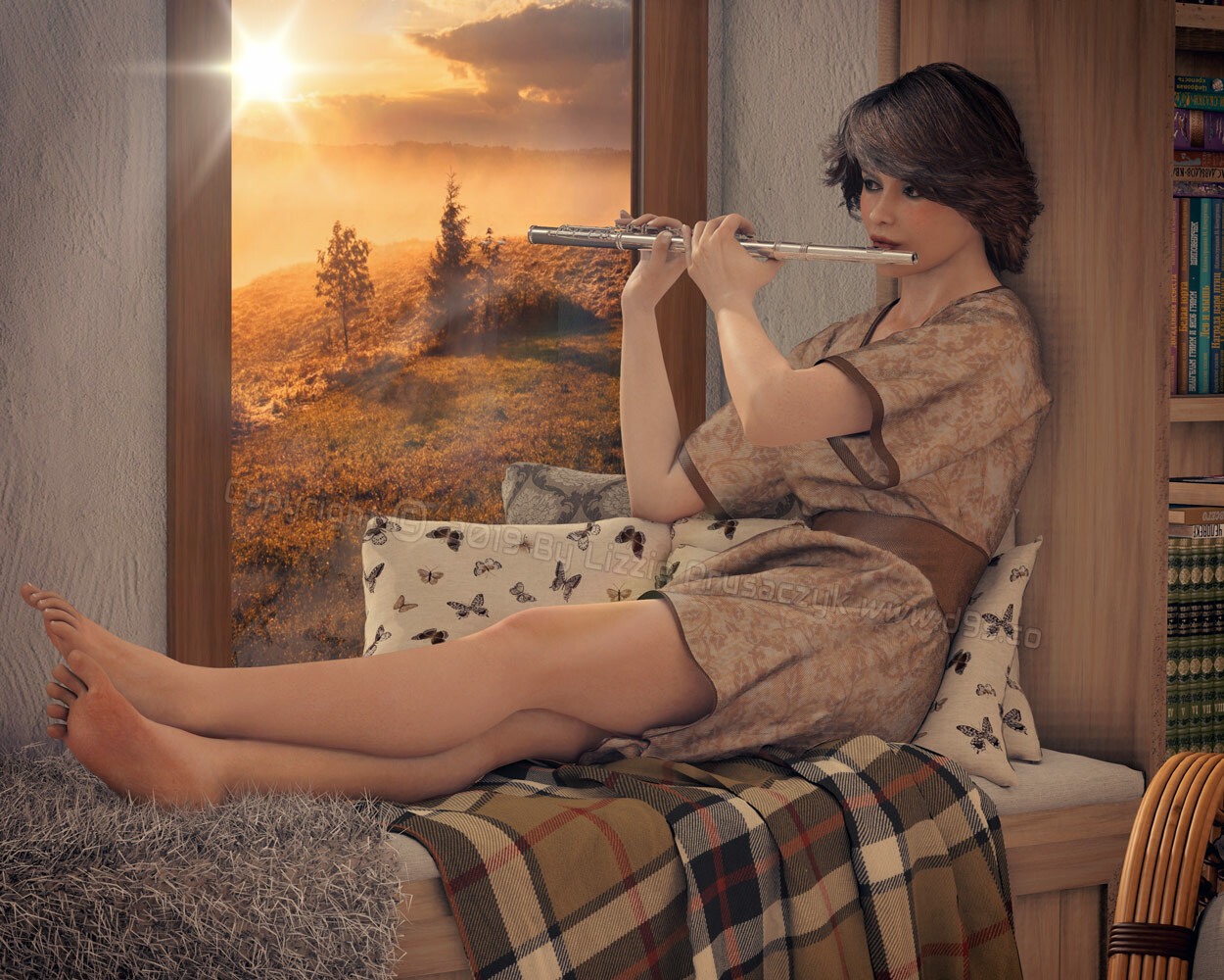 In the early hours of the morning, the woman plays a concerto on her flute.