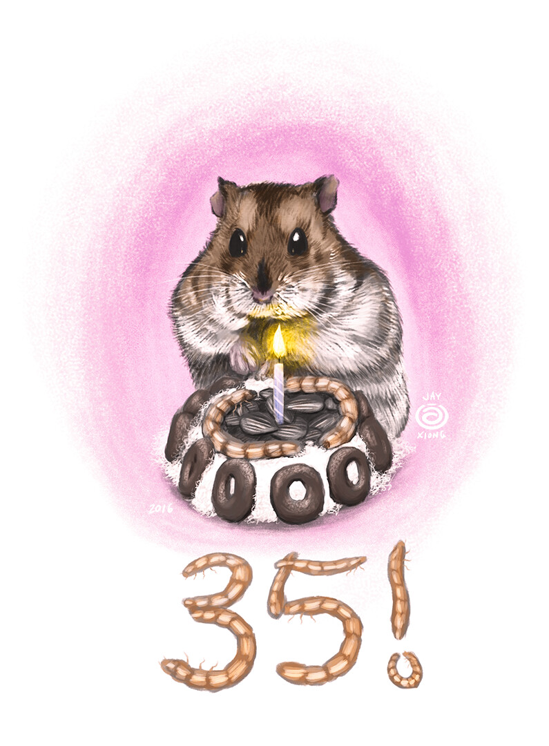 Bubbles the Hamster Digital Painting
