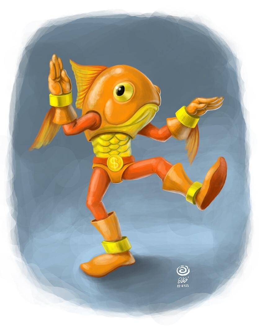 Goldfish-Man Digital Painting