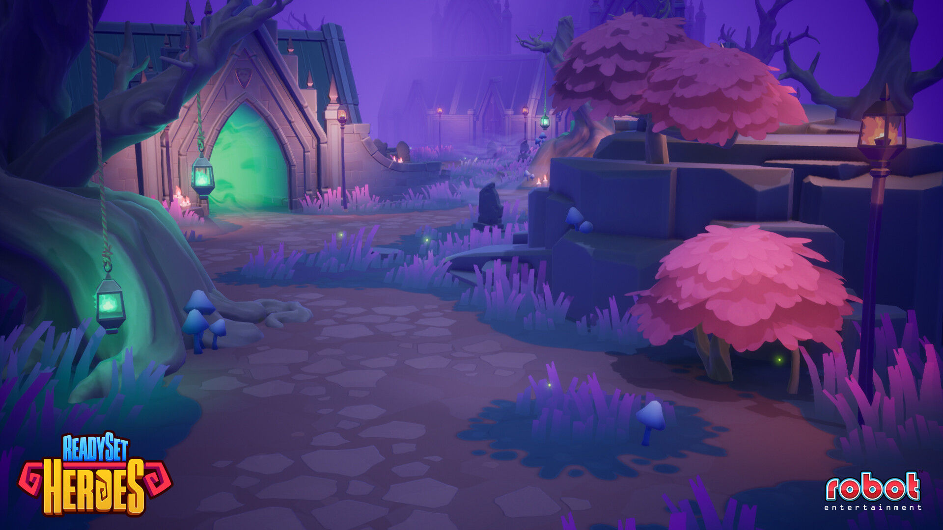 Graveyard art set - Created terrain materials, decals, foliage assets, and built out levels.
